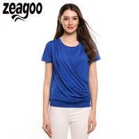 Zeagoo Women Casual T Shirt O Neck Short Sleeve Solid Front Cross Pleated Elastic False Two