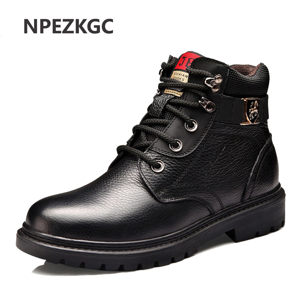 купить NPEZKGC Men Winter Shoes Warm Comfortable Fashion Genuine Leather Martin Snow Boots Waterproof Boots Men's wool Plush Warm Boots
