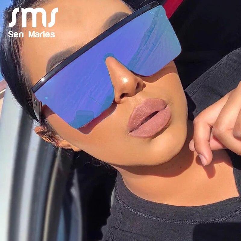 Sen maries oversized womens óculos de sol moda óculos de sol grande quadro à prova de vento máscaras homem plana superior óculos de condução uv400