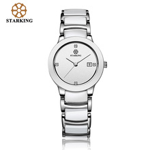 STARKING BL0952 Luxury Brand Relojes de Cuarzo Mujeres Visten los Relojes de Pulsera Calendario De Cerámica Señoras Reloj Relojes de Pulsera A Prueba de agua