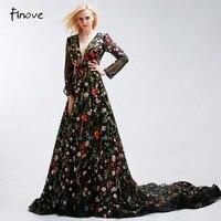 Formal Celebrity Dresses Deep V Flower Embroidery Black Long Sleeve A Line Tulle Vintage Robe De