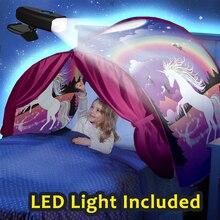 Детская кровать мечты палатки с светильник карман для хранения детей мальчиков девочек ночной спальный складной всплывающий матрас Палатка игровой домик Единорог