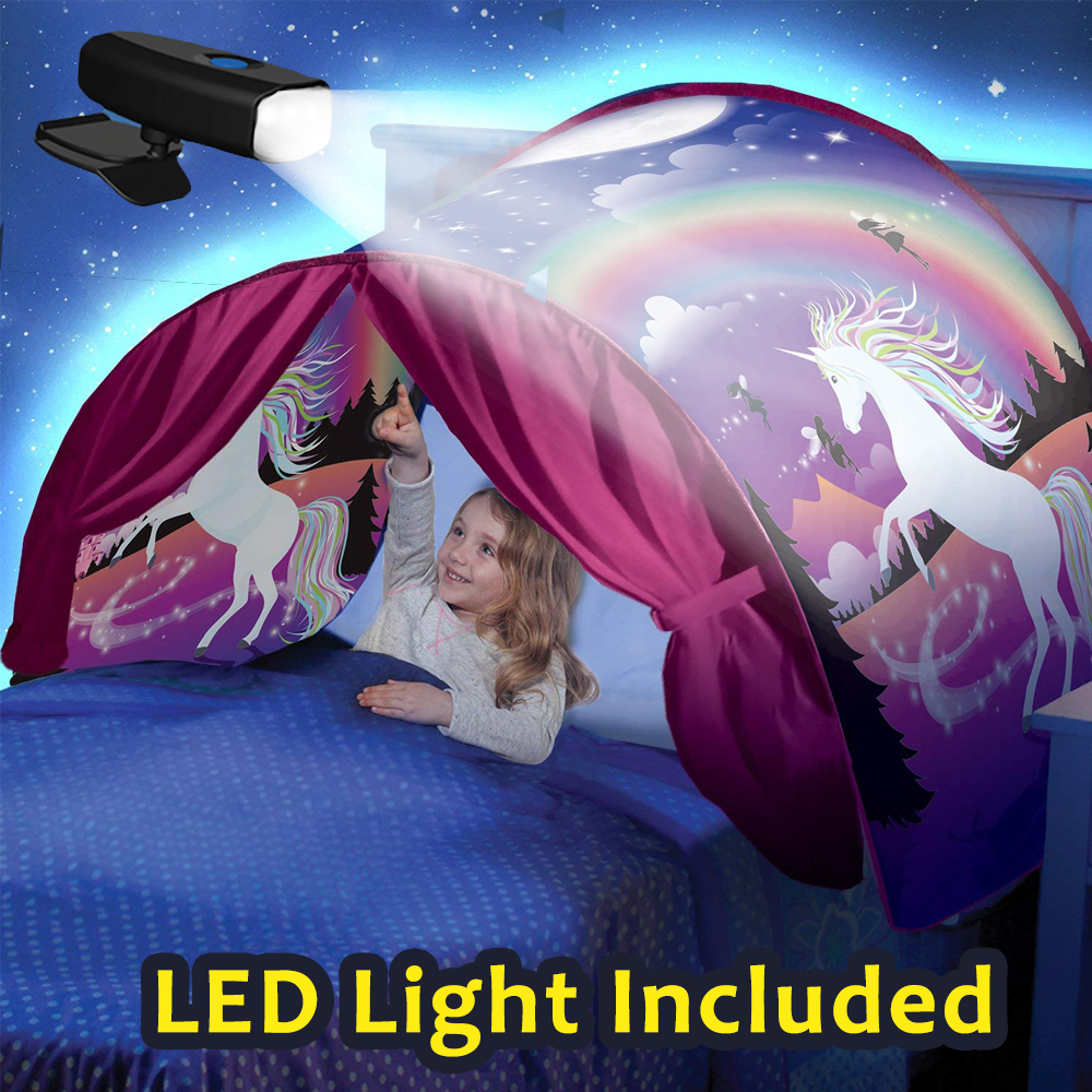 Kids Dream Bed Tents with Light Storage Pocket Children Boy Girls Night Sleeping Foldable Pop Up Mattress Tent Playhouse Unicorn