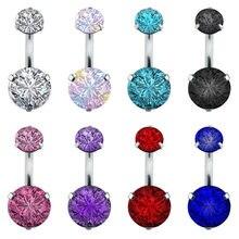 Duplo moda cristal flor botão da barriga anéis aaa zircon aço cirúrgico corpo jóias sexy umbigo piercing ombligo #242267