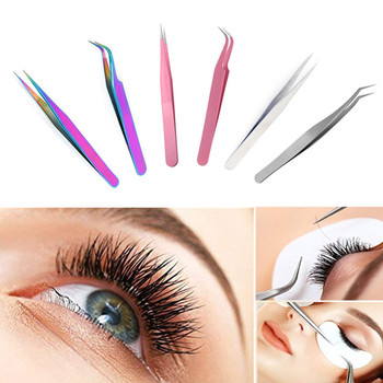 NEWCOME Stainless Steel Anti-Static Eyelash Extensions Curved Straight Tweezers for Eyebrow Professional Tweezers Makeup Tools stylish stainless steel eyebrow tweezers silver
