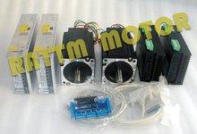 High quality 2Axis Nema34 CNC Stepper Motor 98mm 878oz in 4 0A Driver 6A 80V 256