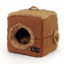 Pet Dog Cat Suede Cube/Yurt Tent Bed With Double Sided Plush Cushion,Waterproof Bottom Soft Kitty House Kitten Sleeping Bag
