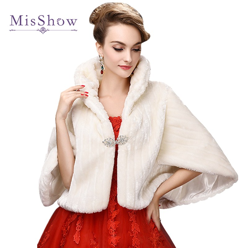 MisShow New Bridal Boleros Faux Fur Bridal Wedding Accessories 2019 Jacket Bridal Winter Warm Bride Wrap Shawl Cape Short Coat