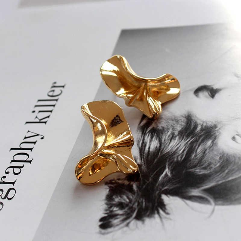 SRCOI irrégulière métal courbe torsadé boucles d'oreilles Vintage couleur or géométrique vague personnalité boucles d'oreilles femmes bijoux de mode
