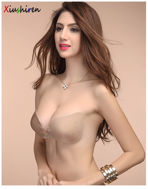 Plusgalpret Cup A To C Sex Girl Super Push Up Seamless Silicone Bras Adhesive Bralette Women Strapless Brassiere Black Nude