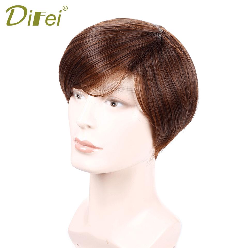 DIFEI Man Wig Synthetic Heat Resistant Fiber Short Light Brown Wavy Hairpiece Reversed Bang Wigs Man Female Perucas Mocha Hair