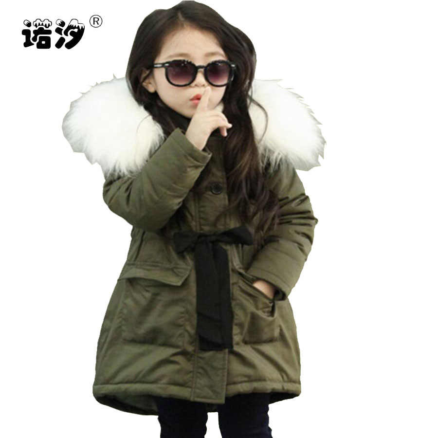 Girls clothes kids winter hooded thickening cotton jacket girl clothes long style coat child warmly jacket girls cute tops 3-11Y