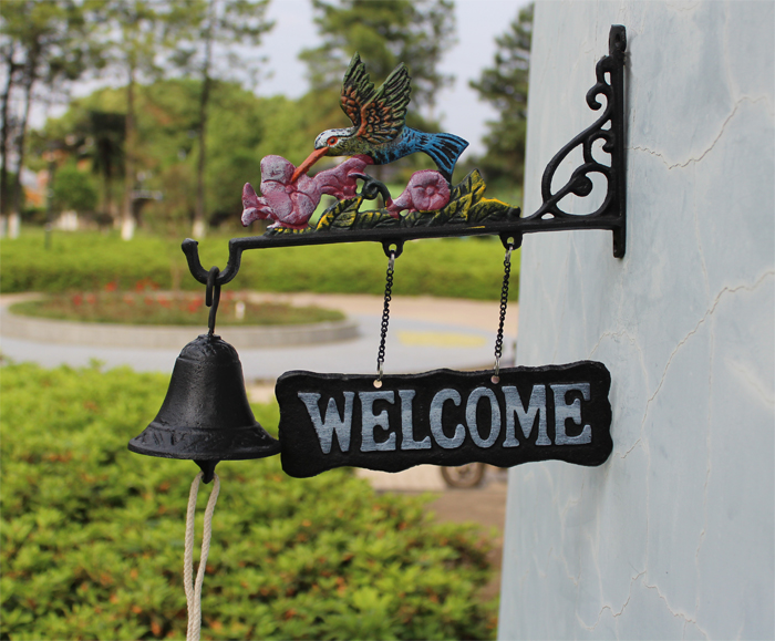 Cast Iron Hanging Hummingbird Bell Decorative Dinner Bells Birds Flower Farm Ranch Patio Garden Gate Yard Bell Outside Free Ship