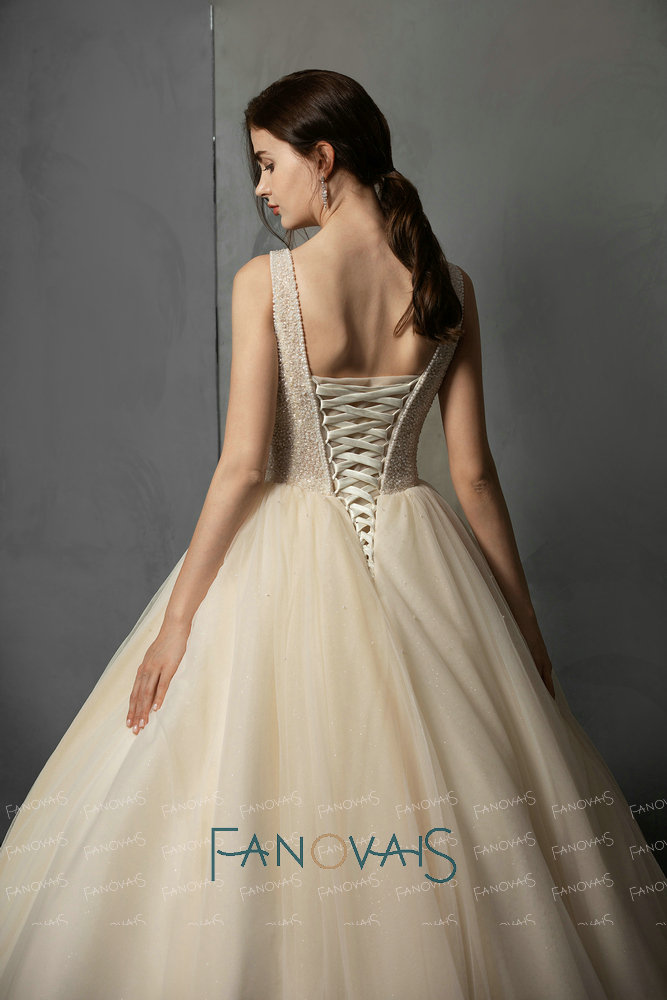 Champagne Ball Gown Wedding Dress Full Beads Crystal Top Bridal Gowns Vestido de Novia 2019 Robe de mariee in Wedding Dresses from Weddings Events