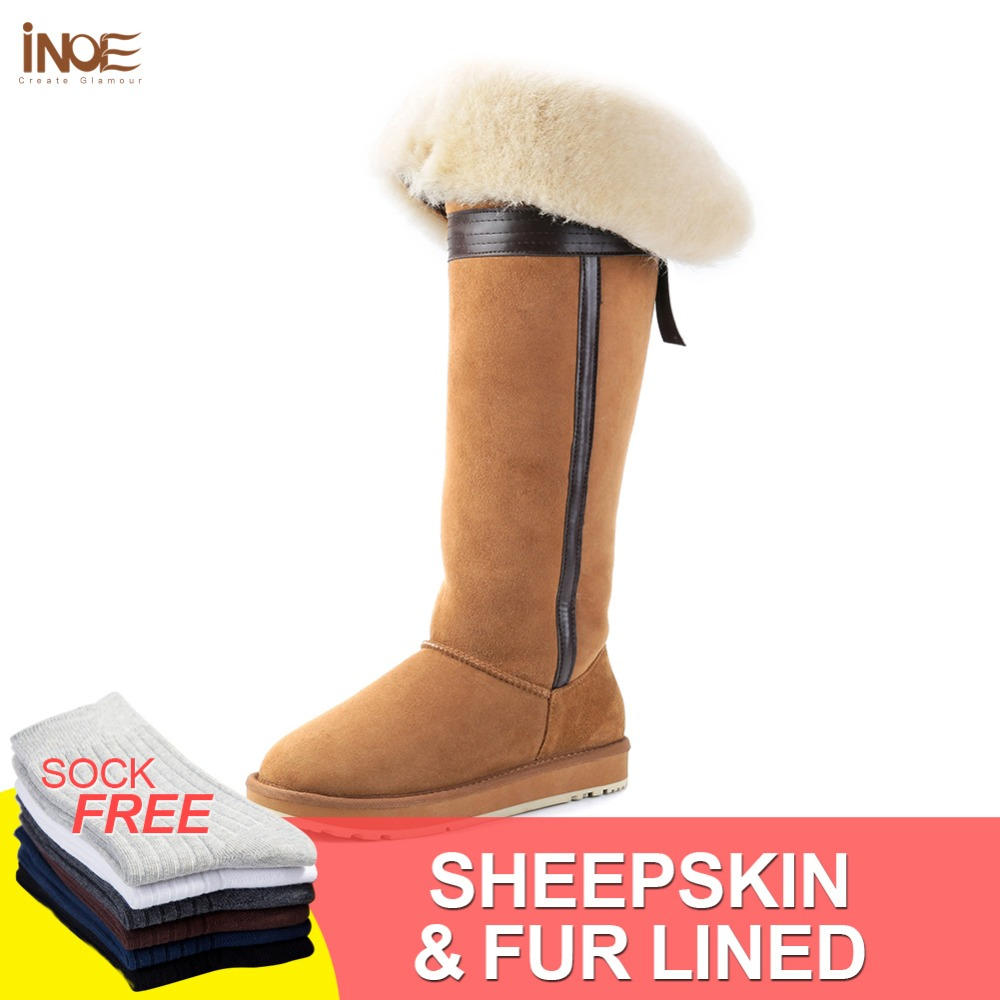 INOE over the knee sheepskin suede leather wool fur lined winter long high snow boots for women bow-knot winter shoes flat 35-44 inoe fashion fox fur real sheepskin leather long wool lined thigh suede women winter snow boots high quality botas shoes black