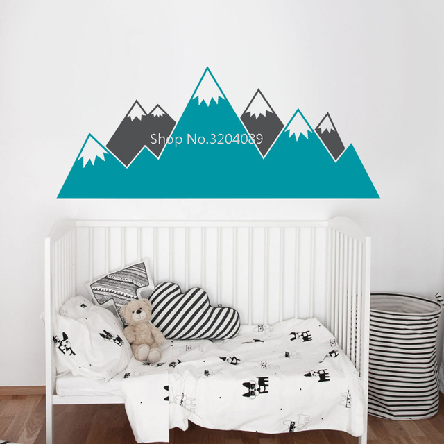Multicolor Mountain Wall Stickers Kids Room Woodland Vinyl Decals Baby Nursery Decor Home Murals
