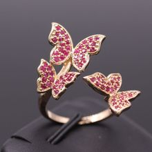 New Arrival Romantic Exquisite Butterfly Ring Red Zircon Glod Plated Women Rings For Party Jewelry