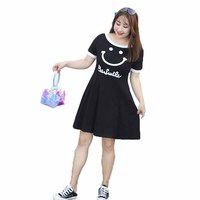 Summer new personalized letter printing in the long section of the ladies dress cover belly sports and leisure women dress W321