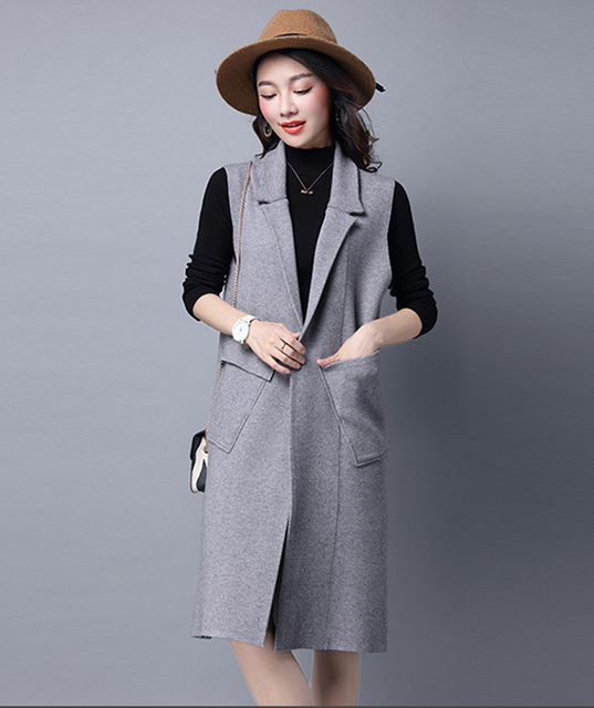 Women's Cashmere Knit Cardigan Vest Waistcoat Autumn Winter Sweater Vests Slim Sleeveless Casual Brand Female Shirt Long Coats