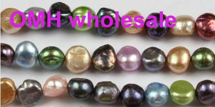 OMH wholesale 50pcs 6-7mm Natural Cultured Freshwater Pearl Beads Grade mixed color Great for Jewelry Making, Loose Beads ZL672