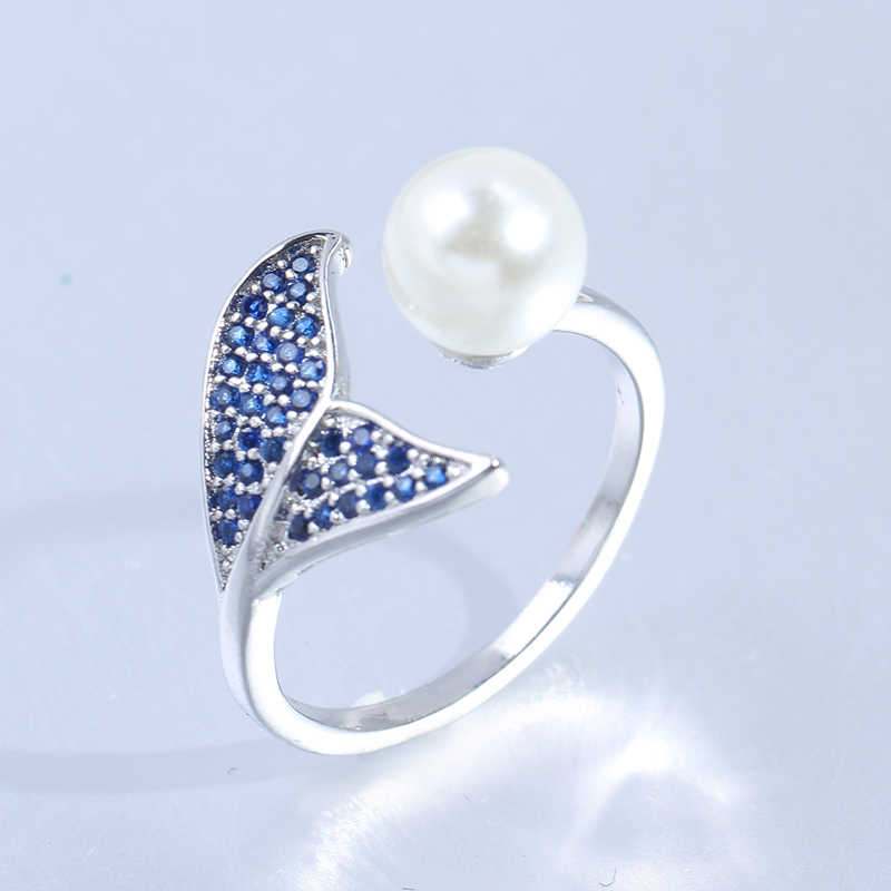 Fashion 925 Sterling Silver Adjustable Fish Tail Mermaid Pearl Engagement Open Rings for Women Blue Cz Wedding Rings
