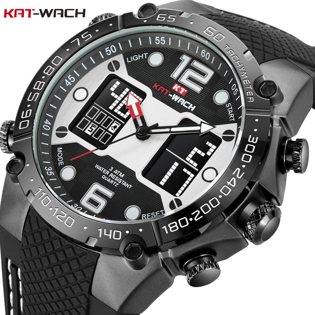 KAT-WACH Fashion Men's Sport Watch Quartz Analog Date Clock Military Waterproof