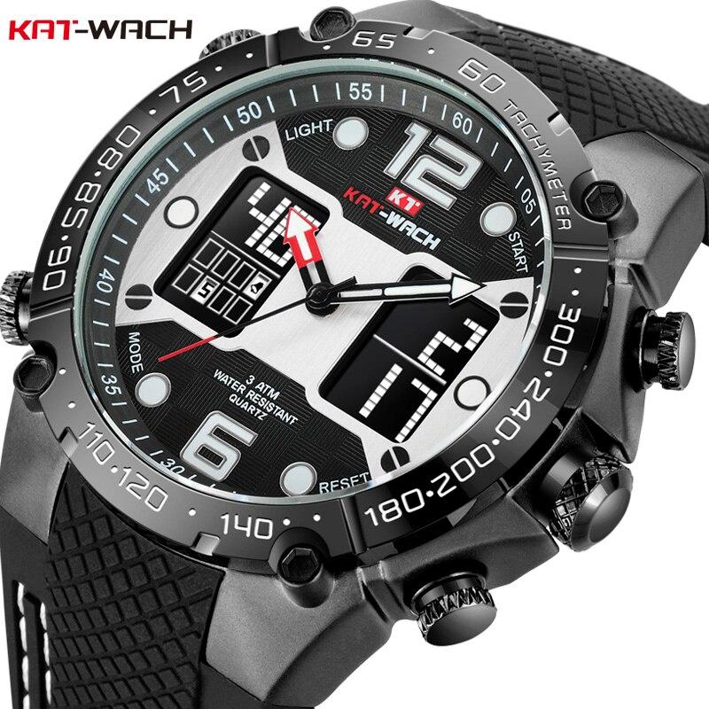 KAT-WACH Mode Hommes de Sport Montre À Quartz Analogique Date Horloge Militaire Montres Étanches Numérique Alliage Silicone Montre Homme