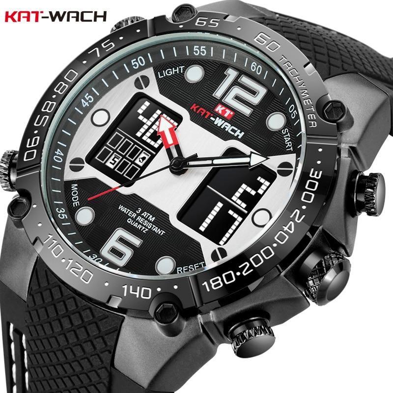 KAT-WACH Mode Hommes montre de sport de Quartz Analogique Date Horloge montres militaires étanches Numérique Alliage montre en silicone Homme