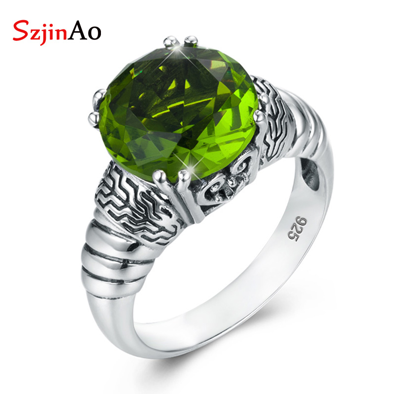 SzjinAo Wholesale Solid 925 Sterling Silver Finger Rings for Women August Birthstone Peridot Ring Vintaga Style Engagement GiftSzjinAo Wholesale Solid 925 Sterling Silver Finger Rings for Women August Birthstone Peridot Ring Vintaga Style Engagement Gift