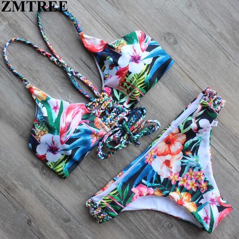 ZMTREE Brand 2017 Newest Floral Printed Bandage Swimwear Women Bikini Swimsuit Push Up Brazilian Biquinis Set Sexy Bathing Suit