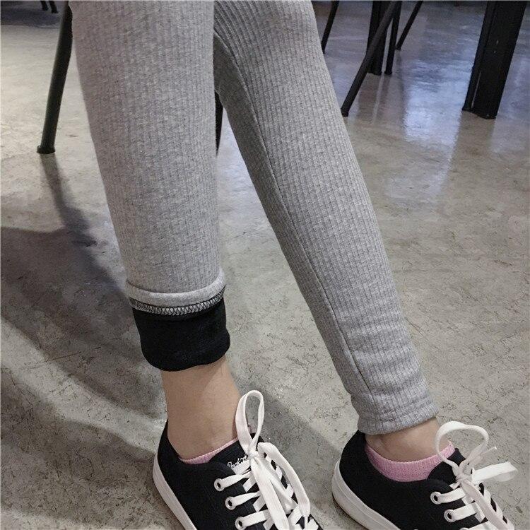 Thick Leggings Winter  Bottoms Women Black Fleece Lining Stretchy Knitted Pajama Pants Elastic Waist Black Gray B81903
