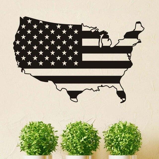 Flagge Karte Von USA Wandaufkleber Vinyl Personalisierte Farben ...