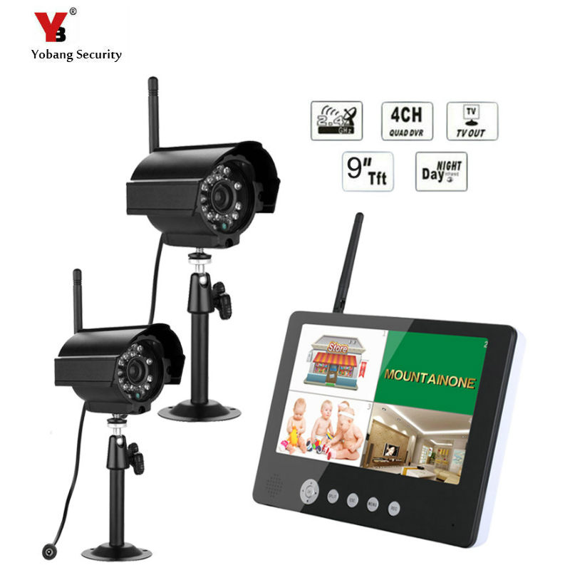 2.4G 4CH QUAD DVR Security CCTV Camera System Digital Wireless Kit Baby Monitor 9