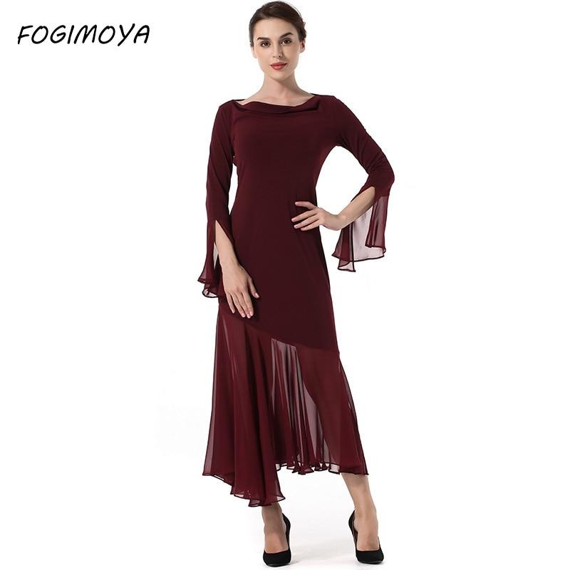 FOGIMOYA Mesh Maxi Dress Women Autumn Perspective Patchwork Asymmetrical Dresses Women's 2017 Full Sleeve Bodycon Long Dress New