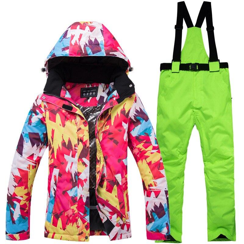 2018 Nouveaux Hiver veste de Ski Femmes Filles Étanche Snowboard Ski Costumes Escalade Neige Pantalon de Ski Femmes Camping Randonnée Équiper