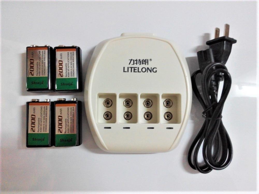 New Power 4 pcs 9v SUPER BIG 2000mAh NiMH batteries Rechargeable 9 Volt Battery + Dedicated 4 slots 9v charger