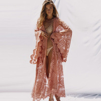 Plus size 2018 Fashion Sexy Bohemian Long Batwing Sleeve lace Dress Women Cardigan Beach Sarongs pareo Summer sundress cover up