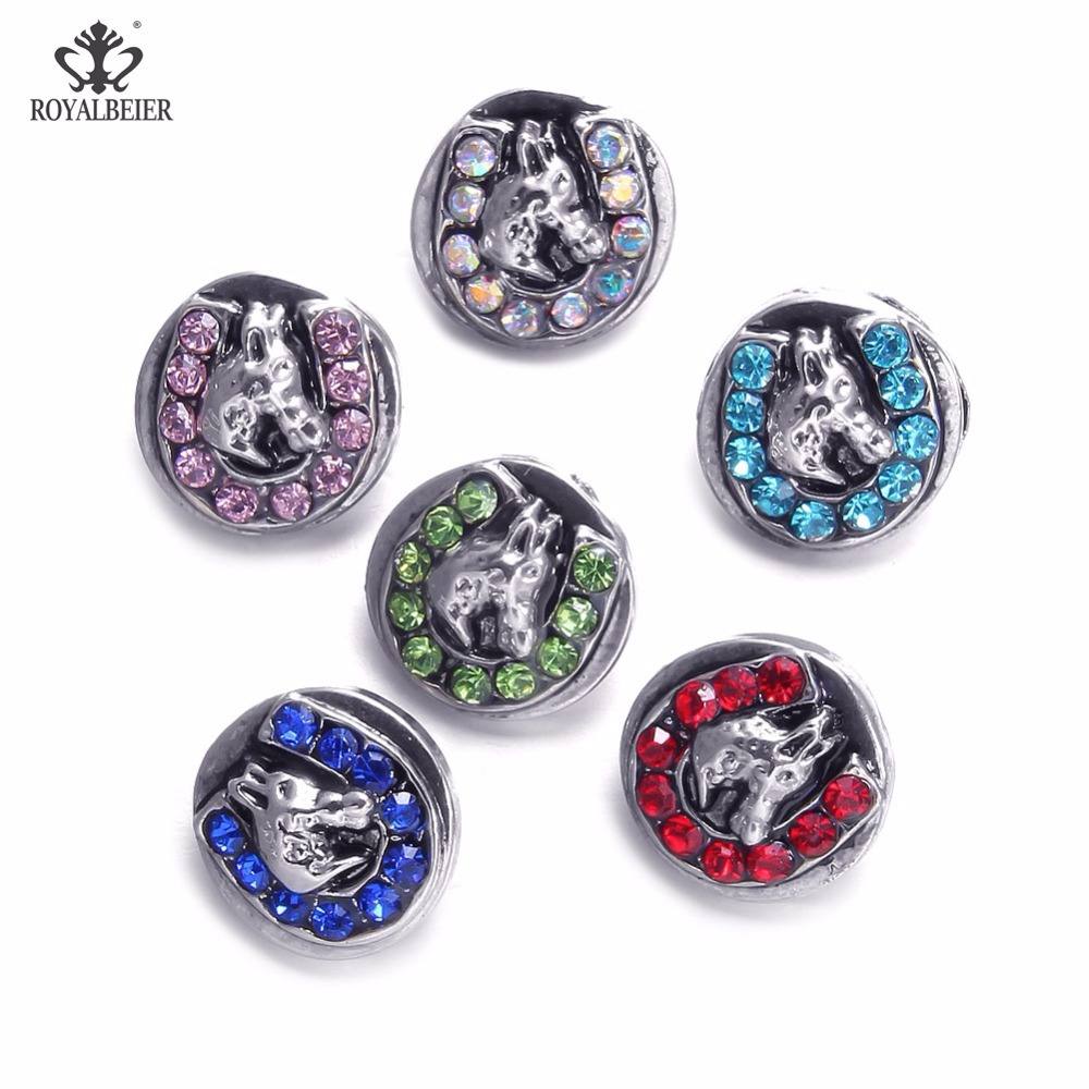 Royalbeier 12mm Beads Buttons 6pcs/Lot Mix Color Metal Rhinestone Charms Snap Button Jewelry For Snaps Bracelet Earrings Jewelry image
