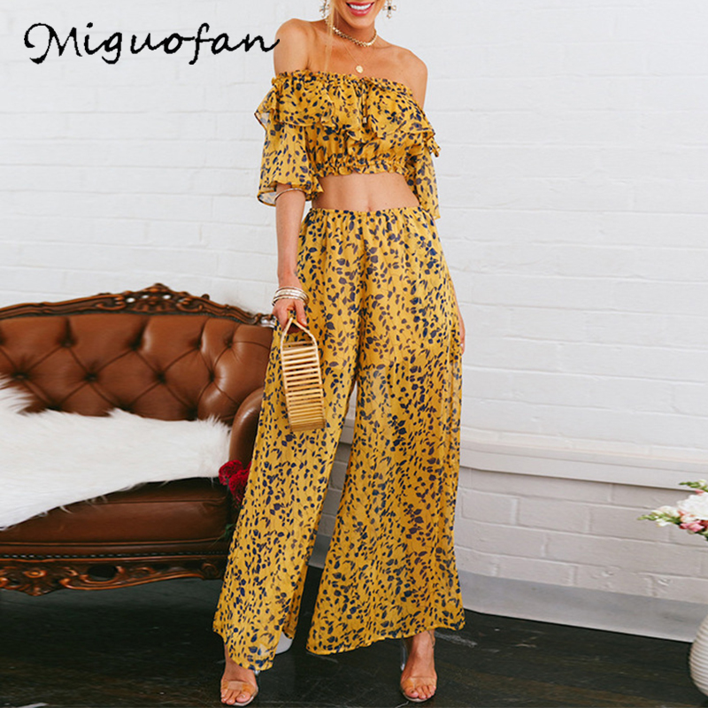 2 Pieces Suits Sets Women Leaves Pattern Off Shoulder Crop Tops With Flare Long Pants Ruffle Slash Neck Summer 2PCS Suit Sets