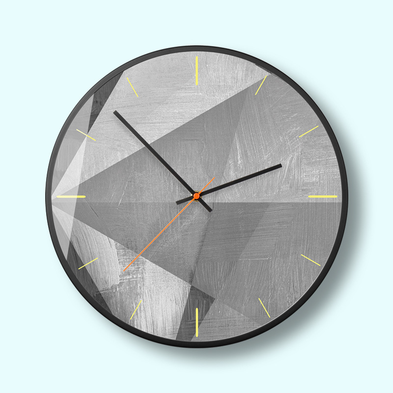 Unique geometric minimalist wall decoration wall clock Creative abstract industrial wind grey wall clock