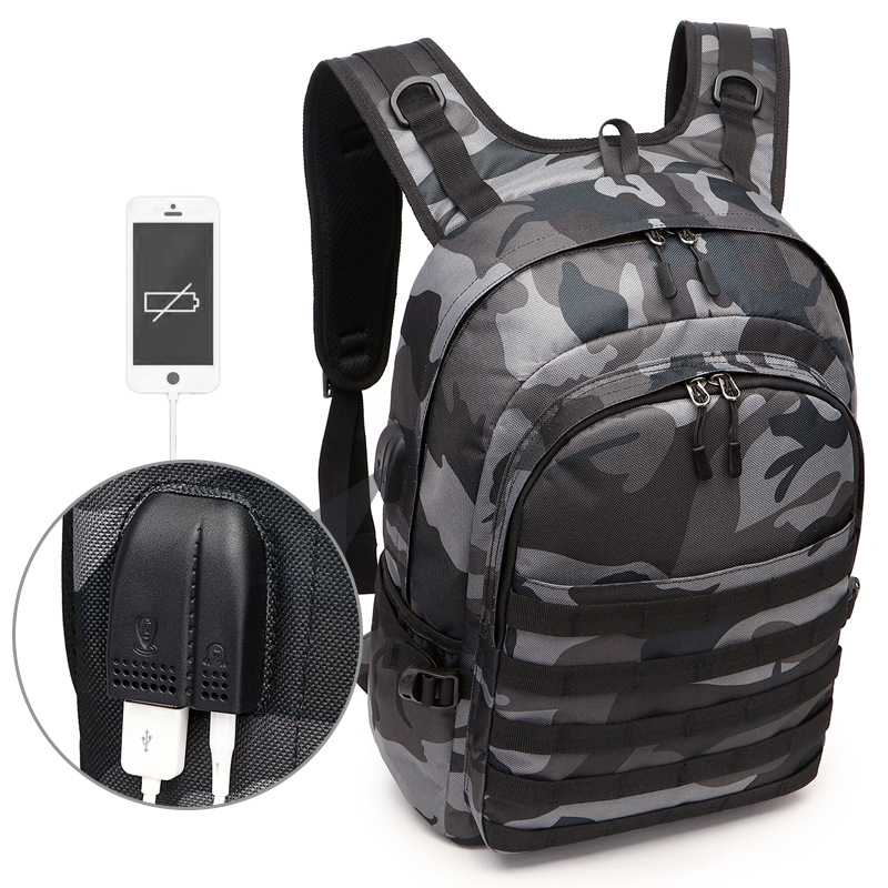 PUBG Backpack Men Bag Mochila Pubg Battlefield Infantry Pack Camouflage Travel Canvas USB Headphone Jack Back