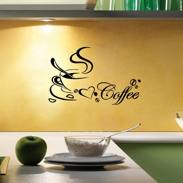 Coffee Cup Vinyl Wall Sticker, Coffee Wall Art Decals For Home ...