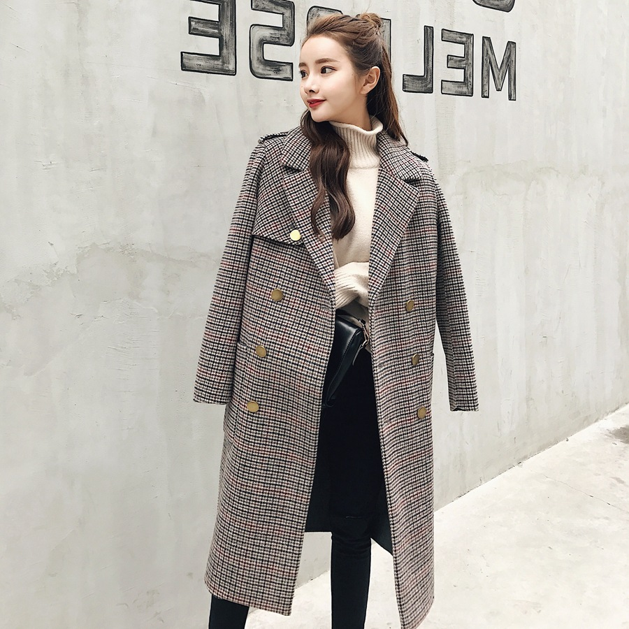 Classic Plaid Tailored Collar Woolen Coat Female 2017 Winter Cloth Fashion Greatcoat Metal Double Breasted Straight