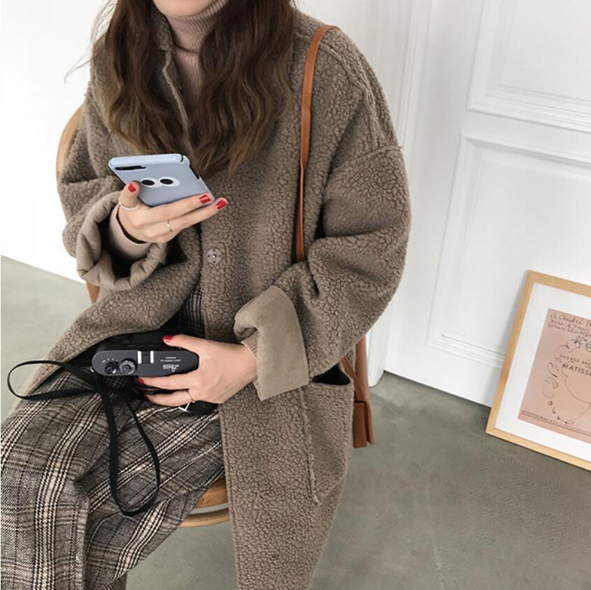 Chaud Longue Femmes Automne Et Fourrure Des 1 D'hiver Femme En Nouvelle Manteau Gris Mode D'agneau Veste Revers Couleur Peluche 2 2018 WIqv6q