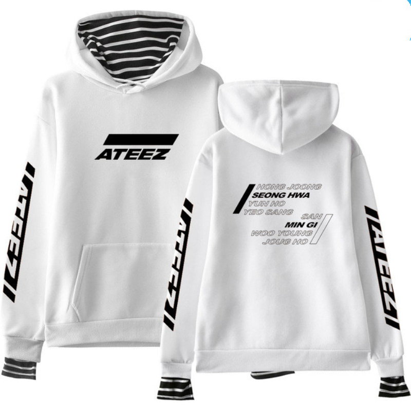 Mainlead Kpop ATEEZ Print False Two Piece Casual Women Hoodies Sweatshirts Wooyoung Mingi