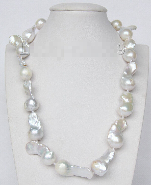 """shipping Genuine 17"""" 35mm white Reborn keshi pearls necklace 925 silver clasp e2148"""