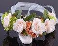 2016 Floral de Noiva Coroa Coroa De Cabelo Babys Respiração Ajustável Rose Flor Simples de Halo Floresta Peruca Natural Do Casamento Rústico