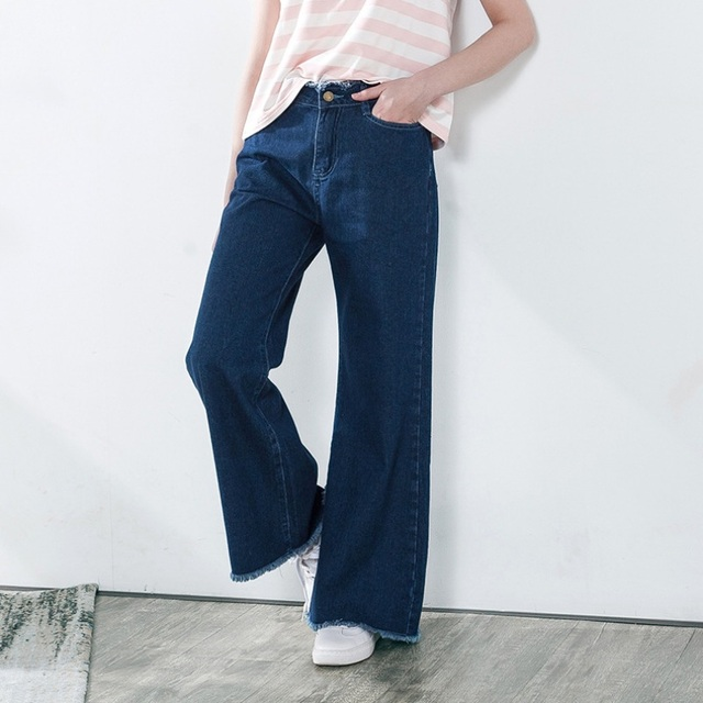 S-3XL Vintage Loose High Waist Jeans Women Fashion Tassel Tiny Flare Jeans  Casual Wide Denim Pants c0fd33e9370c