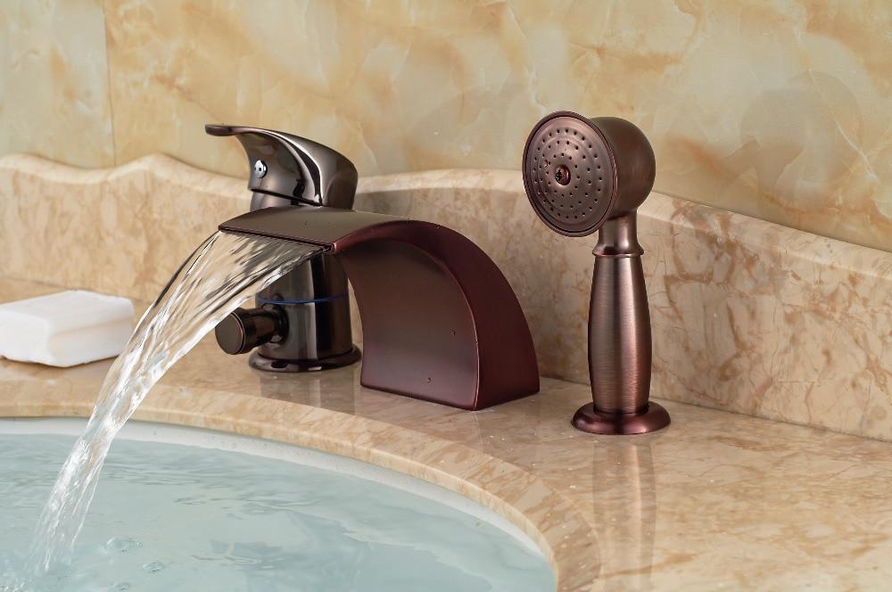 Luxury Oil Rubbed Bronze Roman Waterfall Tub Faucet 3 PCS Sink MIxer Tap Diverter W/ Hand Shower