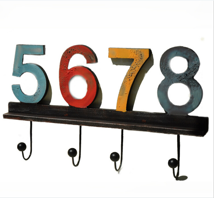New Arrival!American Style Wall Hook Vintage Wooden Coat&Hat Wall Hanger 5678 letter Home Deocration 4Hooks Wooden Hanger